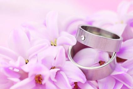 Titanium wedding rings on pink background with hyacinth. Shallow dof